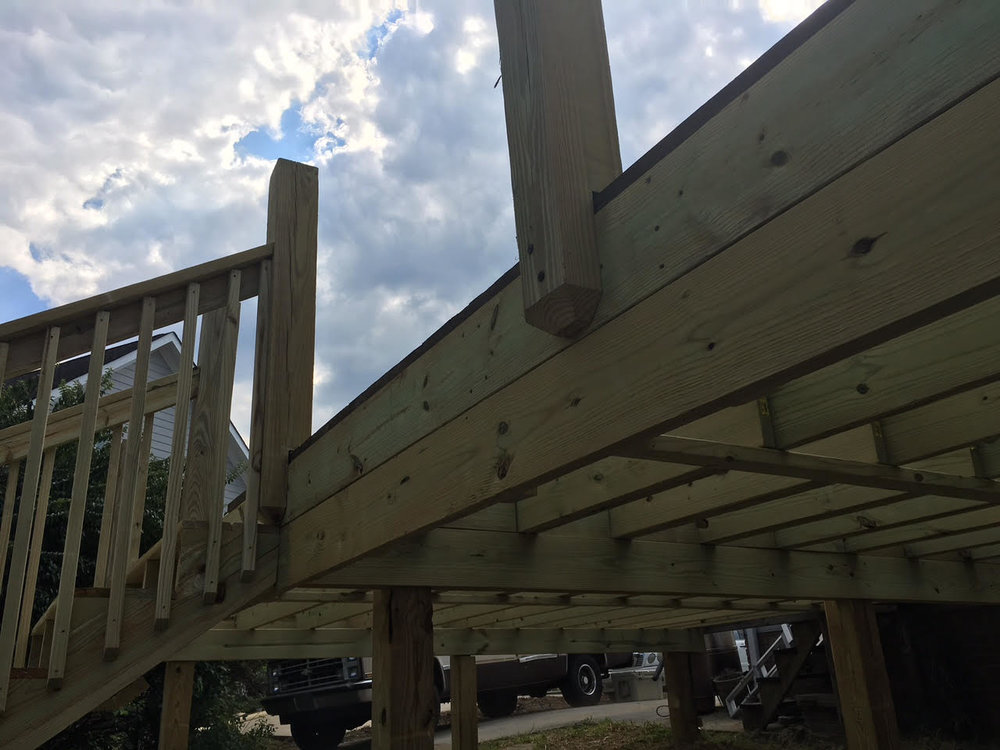 6x6 deck posts notched