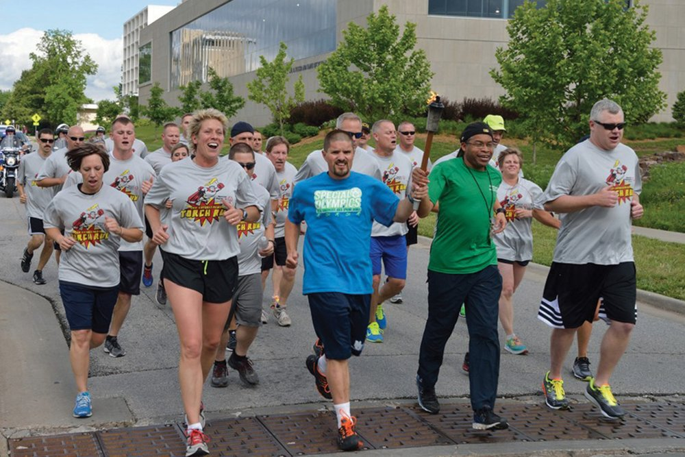Law Enforcement Torch Run (R) Final Leg at the State Summer Games in Springfield