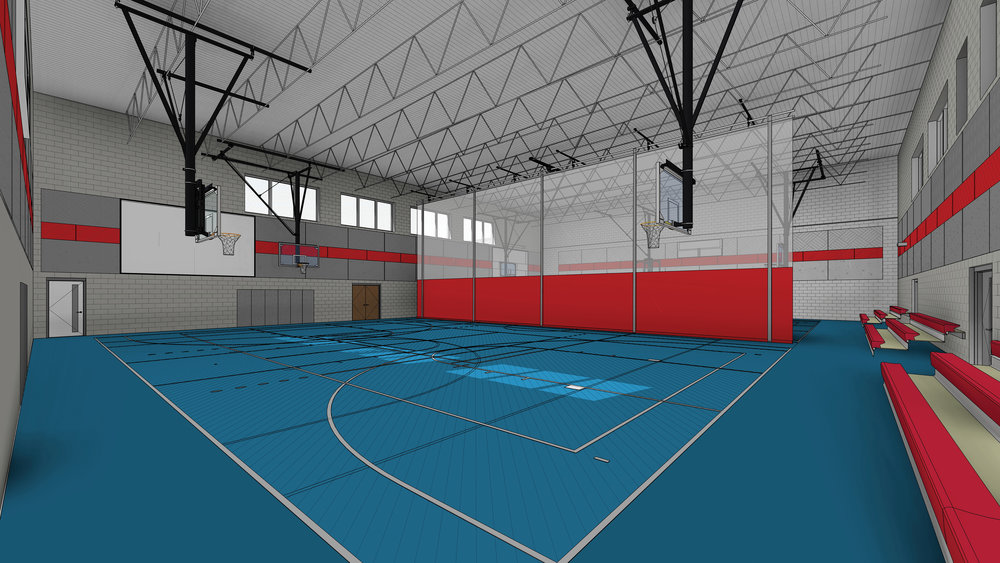 A rendering of the inside of the arena that will house basketball and volleyball courts with a roll-down divider.