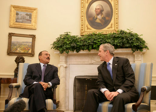 "President Ali Abdullah Saleh of Yemen thanks President George W. Bush ""for his strong support in this war against extremists and terrorists"" in the Oval Office in 2007 © White House Photo Office"