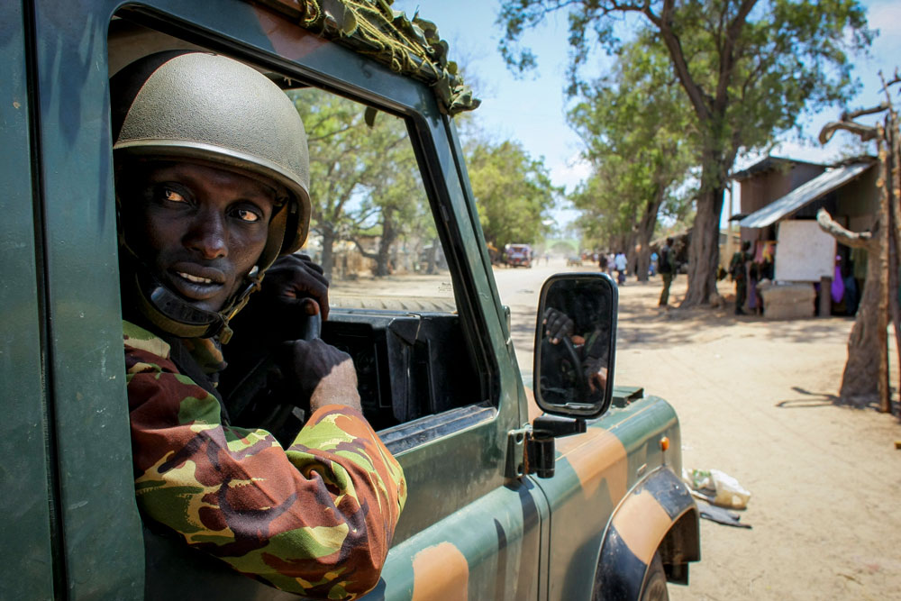 A Kenyan AMISOM soldier in Kismayo, shortly after its capture from al-Shabaab, October 2012. Photo: UN Photo/Stuart Price