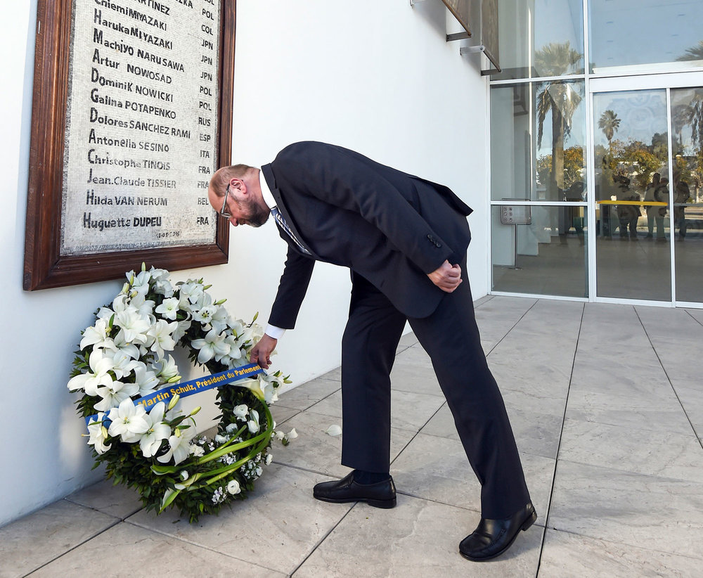 Tribute to victims of the Bardo National Museum attack: Then European Parliament President Martin Schulz visits the Bardo National Museum. Photo: European Union 2016 – European Parliament