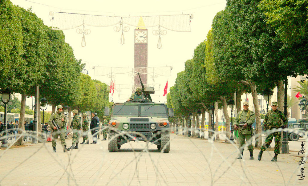 Military presence in the centre of Tunis. Photo: Wassim Ben Rhouma