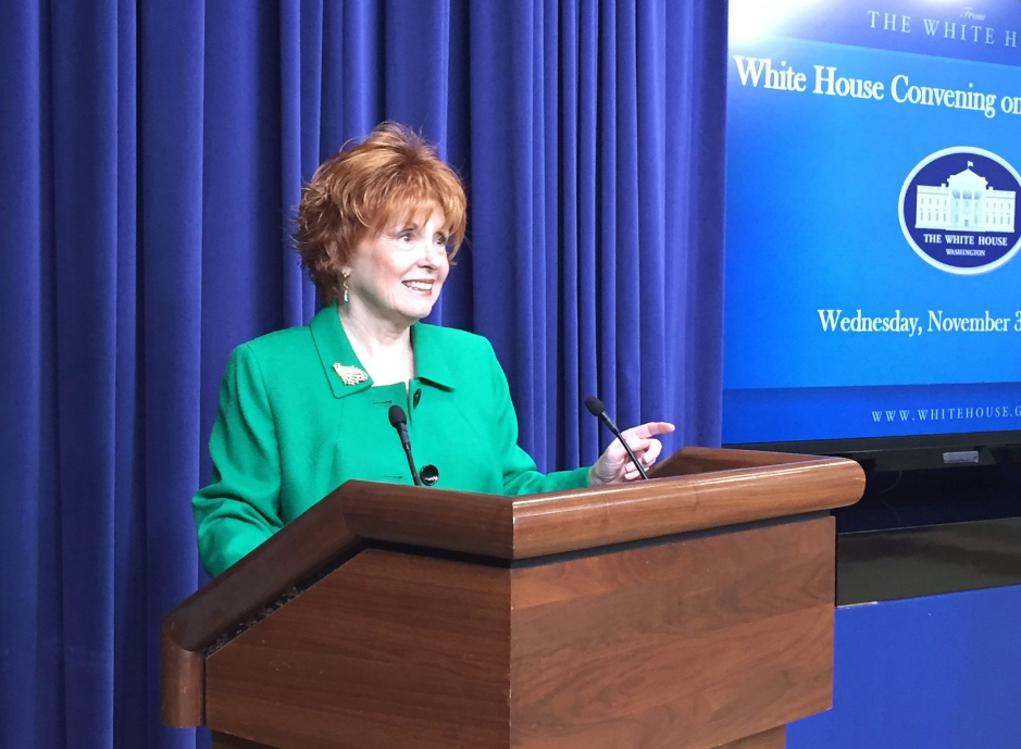 SourceFunding.org Leadership Council member Sue Ellen Allen speaking at the White House.