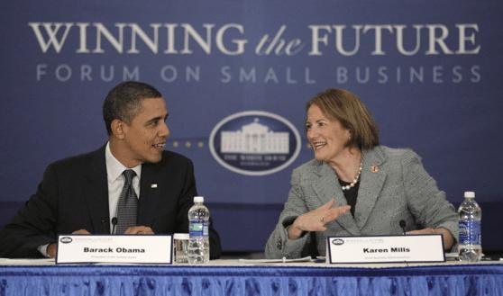 Karen Mills with U.S. President Barack Obama (Photo Credit: U.S. Small Business Administration)