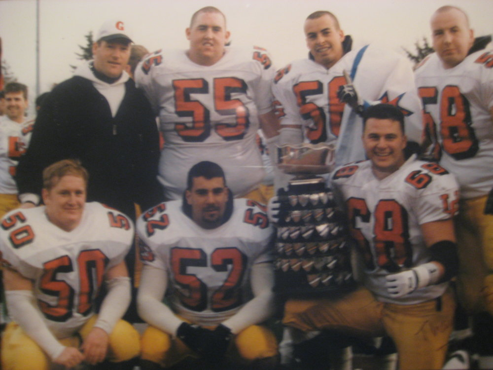 Members of the 1996 Yates Cup winning team Defensive Line, including current Gryphon Coach Brian Cluff