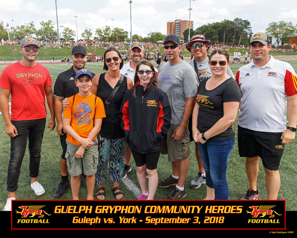 From left: Carter Scheffold-Higdon (brother, in orange), Carla Scheffold (mother), Scott McRoberts (UofG Athletic Director), Morgan Scheffold-Higdon (Community Hero), Ron Higdon (father), Doug Pflug (Gryphon Football Community Contact), Cst. Sherry Pettapiece (Guelph Police Services), Head Coach Todd Galloway.