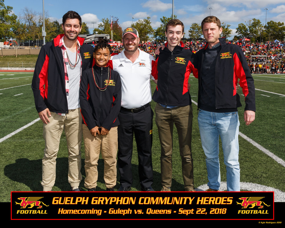 From left: Konrad, Shai, Scott McRoberts (UofG Athletic Director), Konrad, Justin.