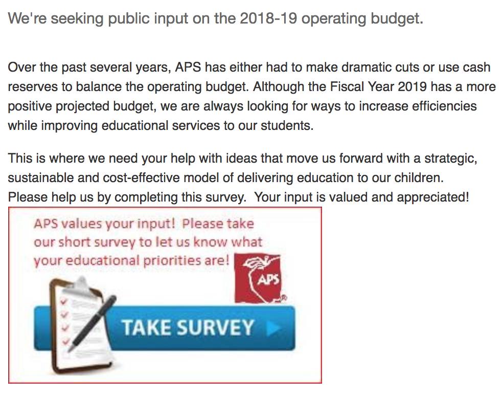 Take APS's survey:    http://www.aps.edu/news/budget-survey