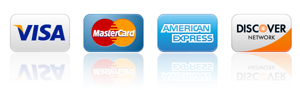 Visa, Mastercard, American Express, and Discover cards accepted here image.