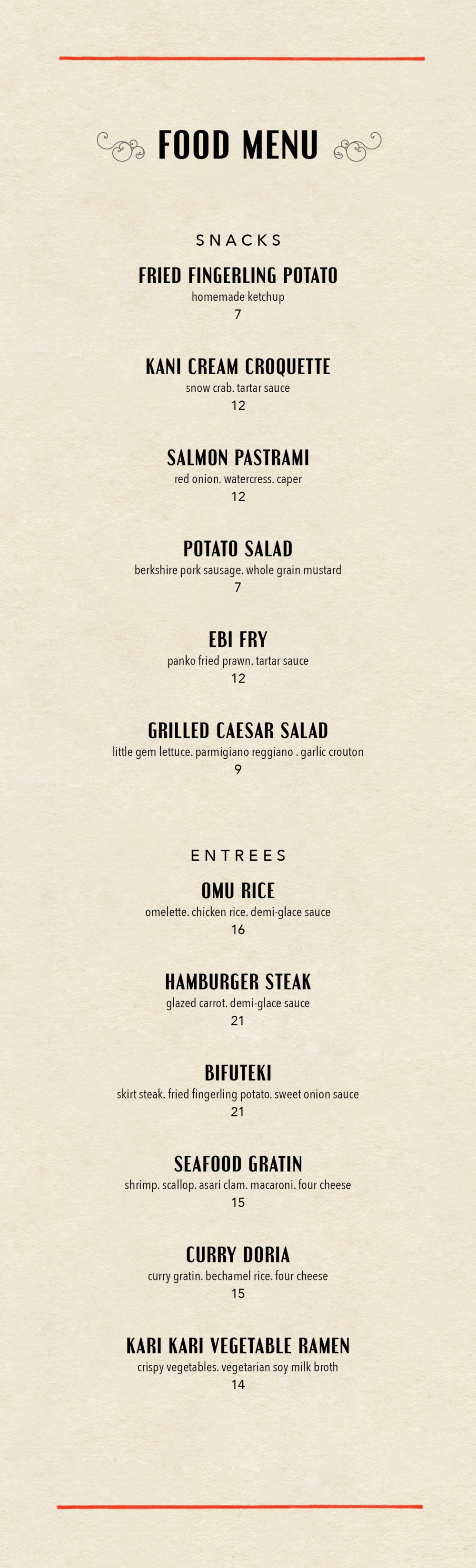 bar moga food menu