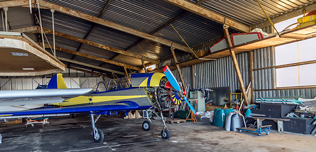 Airplane repairs in hangar