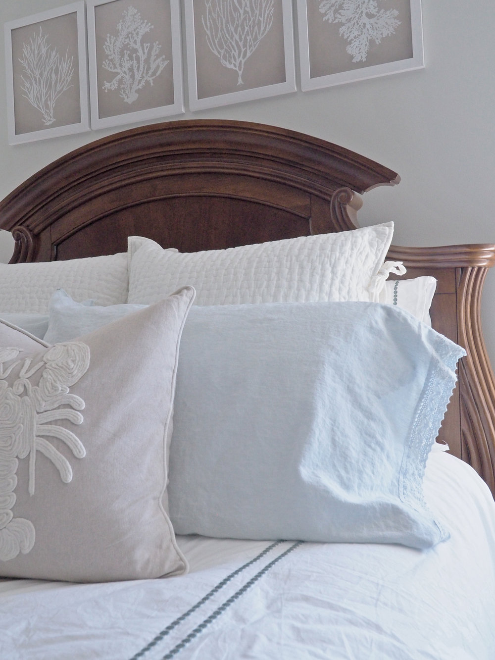 Those crocheted edges on the pillow cases had me at hello!