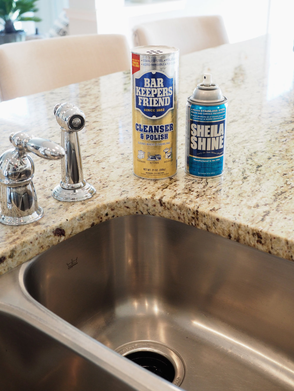 Next up ... Scrub that sink! Whether you have stainless or porcelain, Bar Keepers Friend is the one for the job! I use a light duty scrubbing sponge on my sink and cookware and the results are fantastic. If you have a stained porcelain sink, you really should try this product. After cleaning the sink, sometimes I spray on a little Sheila Shine and wipe it out with a paper towel. Looks great!