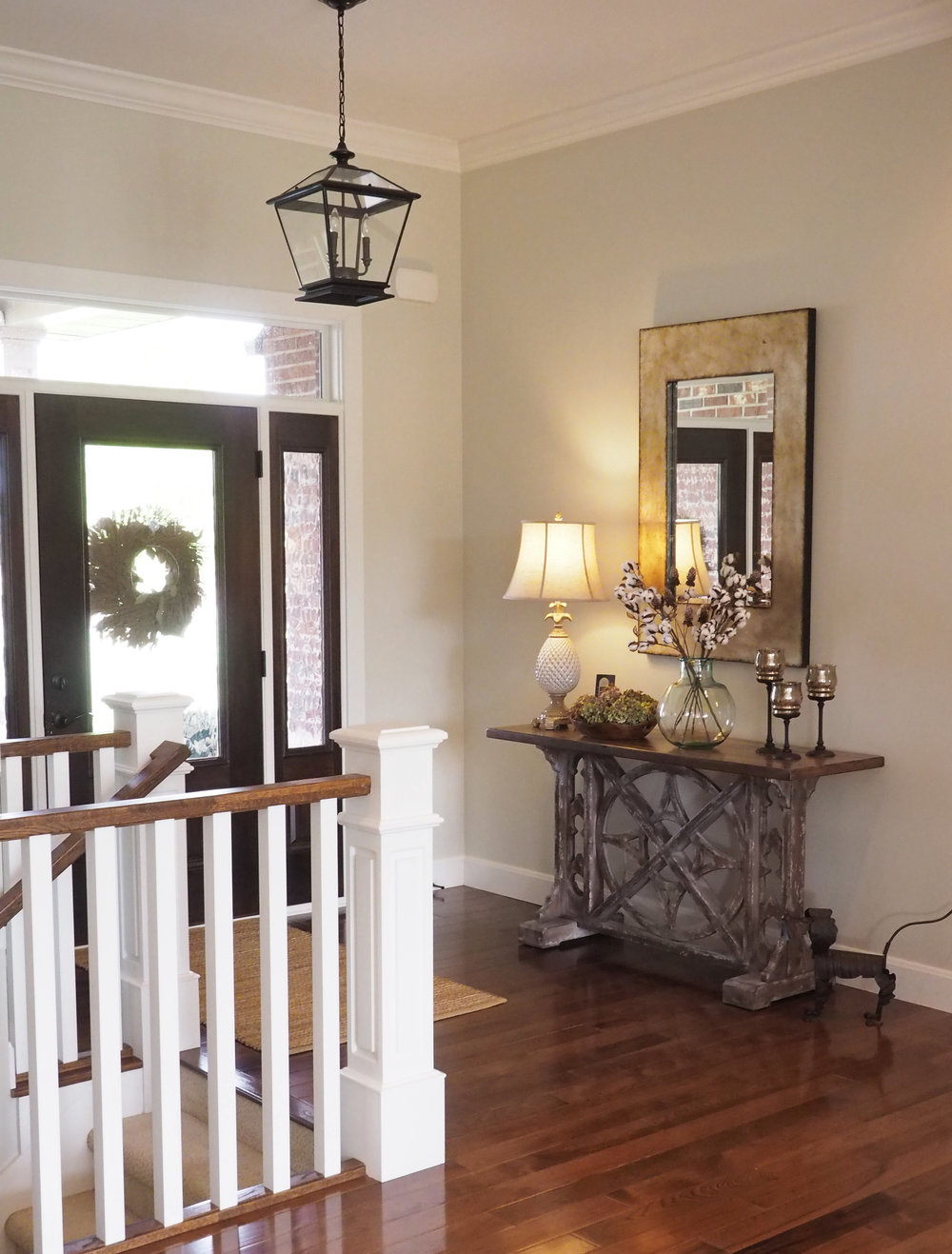 Another daytime view of the foyer paint color, November Rain by Benjamin Moore.