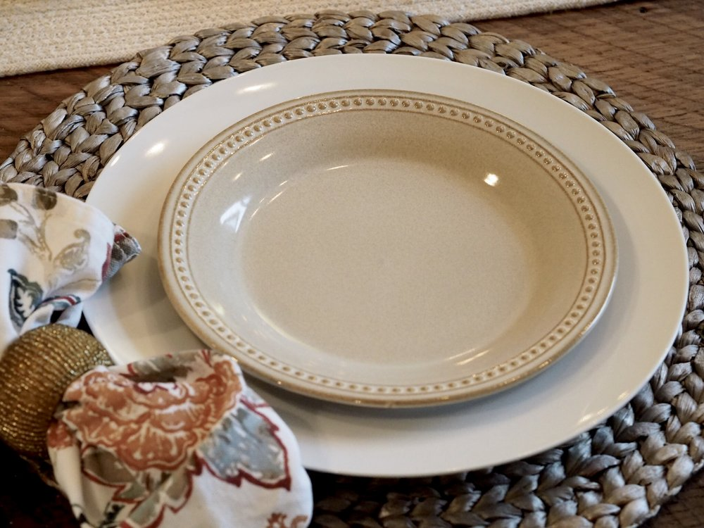 The salad plates are my newest tableware purchase. They are the Spice Route collection from Pier 1 Imports and the color is Sesame. They're so beautiful and now I want the dinner plates! Funny how that works!