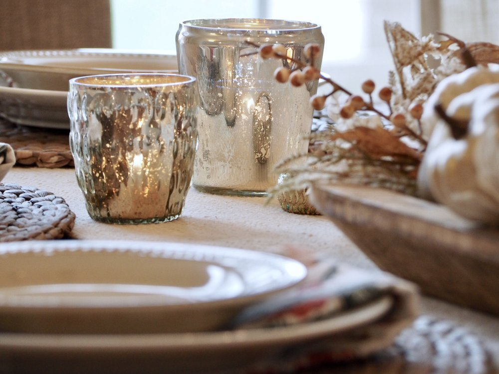 Mercury glass candle holders = LOVE! From Pottery Barn Outlet store.