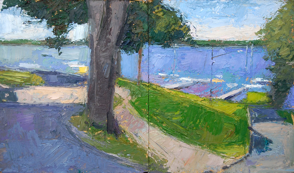 Road by the Lake,13x22,oil on board,2001.JPG