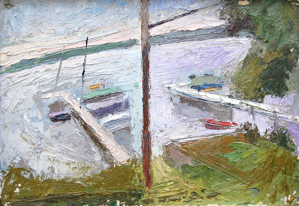 Telephone Pole on the Lake, 10x15, oil on paper,2001.JPG