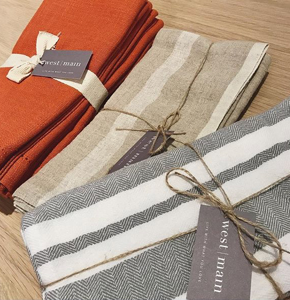 Beautiful napkin sets in various fabrics.