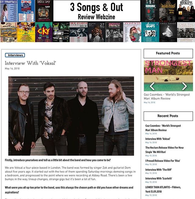 Our magazine interview has been published, have a look 👀 link is here!  https://www.threesongsandout.com/single-post/2018/05/16/Interview-With-Voksal