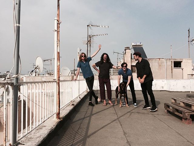 Hi there Athens. Here we are on a rooftop with a dog. Playing this evening at Six d.o.g.s. Ja mas!! #athens #sixdogs #sunandthewolf #actualdog #roofboy