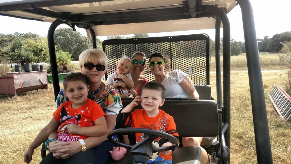 My grandson has his hands full driving the women around