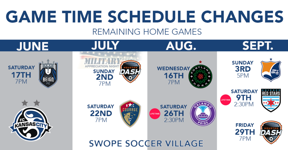 FC Kansas City's remaining home games with updated kickoff times. All times are CT