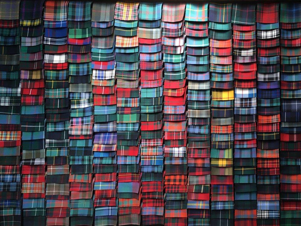 just a fewsamples of Scottish clan tartans from Lochcarron Mill, Selkirk