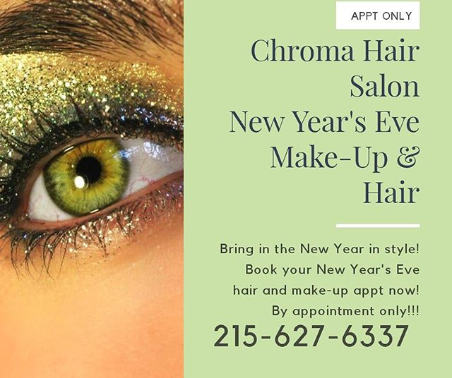 Big New Year's Eve plans? Come in this Sunday and let us do your hair and makeup. By appointment only! Call to book now. 215-627-6337 #newyearseve #phillyhair #phillymua #phillysalon #hair #makeup #newhair #phillymakeupartist