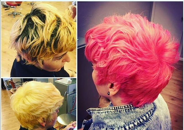Transformation Tuesday: They say #blondes have more fun but imagine how much fun @jamiebstylin client is having! . . . .  #transformationtuesday #newhairwhodis #pinkhair #pinkhairdontcare #Philly #phillysalon #Hair #shorthair #salon #newyearnewyou #oldcity