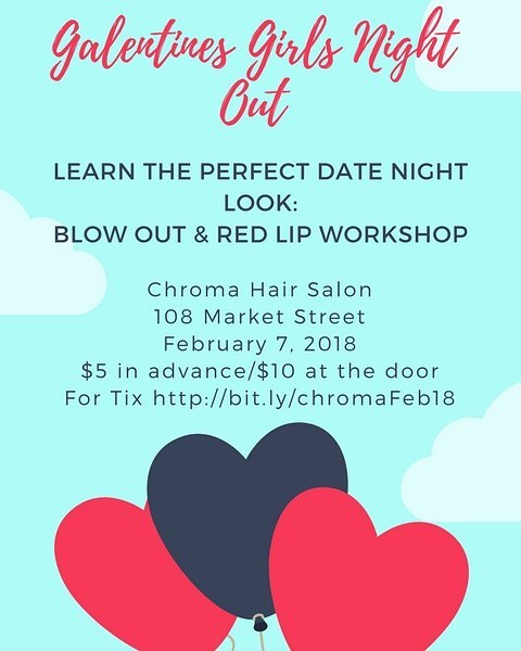 Grab your best gal pal and learn how to get amazing blow-outs at home. Plus, Chroma's own Makeup Artist @jamiebstylin will also give tips and tricks on finding and applying a flawless red lip. Link in bio for tickets! . . . . #girlsnightout #galentinesday #ladiesnight #oldcity #blowout #phillysalon #makeup #redlips