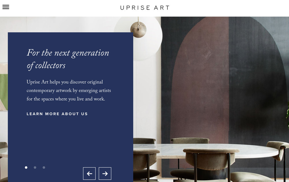 homepage of UpriseArt.com