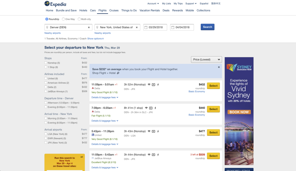 Expedia uses price comparison and urgency to maximize conversion.