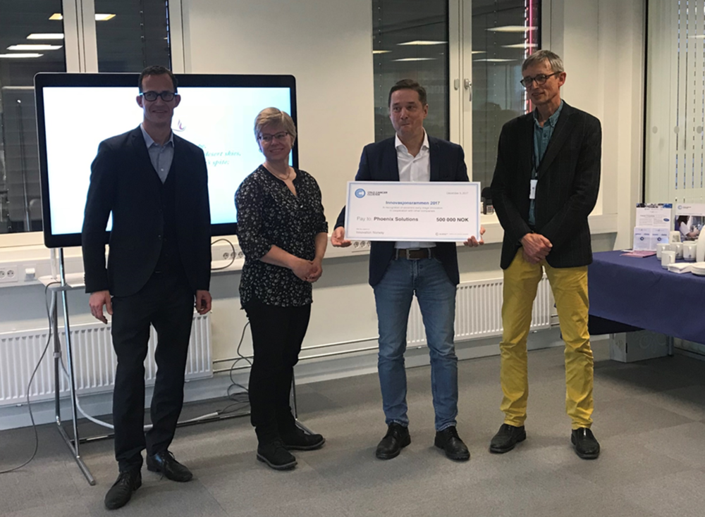 From the award ceremony. Ketil Widerberg (GM Oslo Cancer Cluster), Hanne Mette Kristensen (Senior Advisor Health, Biotech & Medtech at Innovation Norway), Per Sontum (CEO Phoenix Solutions AS) and Bjørn Klem (GM Oslo Cancer Cluster Incubator).