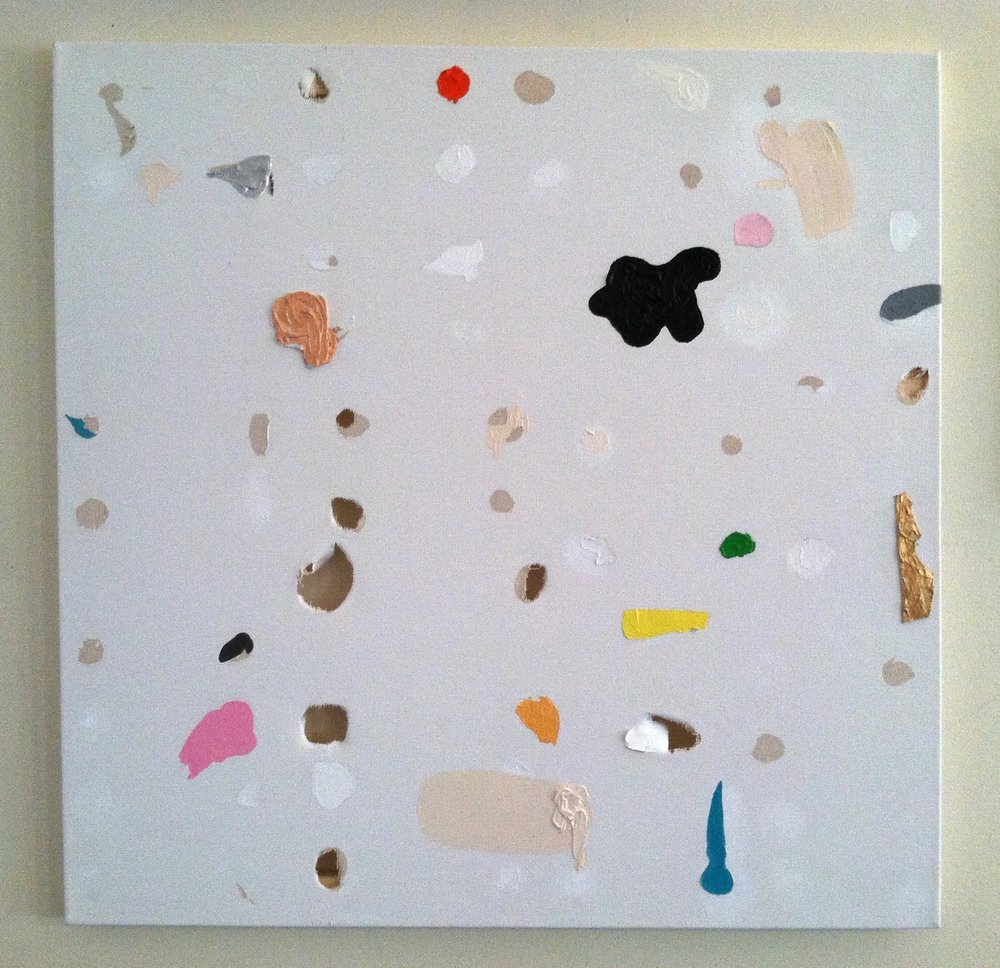 "Kerplat!  oil, acrylic, paper, holes in canvas 24"" x 24"""