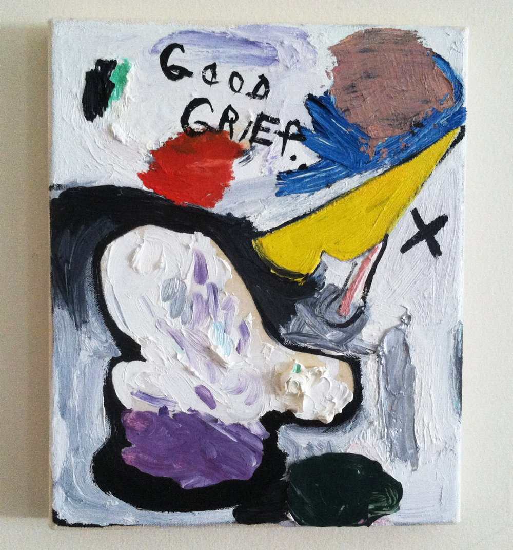 "Good Grief  oil, wax paper, layered canvas 11"" x 9"""