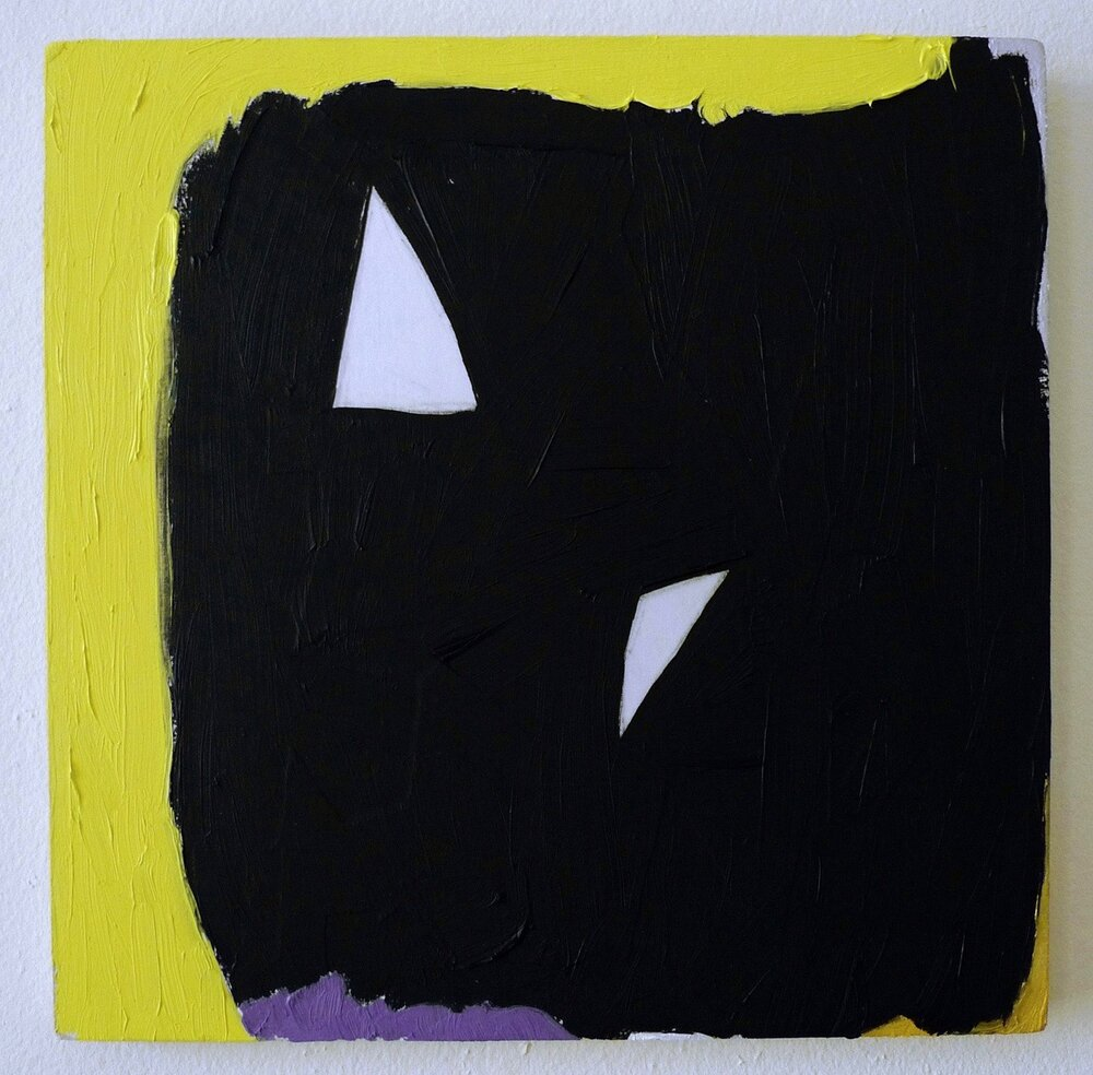 "sharp3  oil, acrylic, gesso and paper on panel 10"" x 10"""