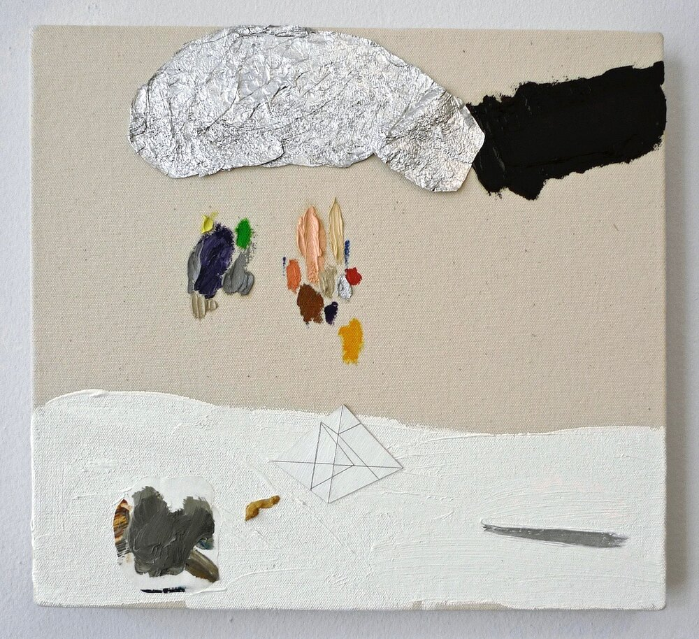 "Death is Not the End   oil, acrylic, cardboard, graphite, paper and aluminum foil on canvas 11"" x 12"""