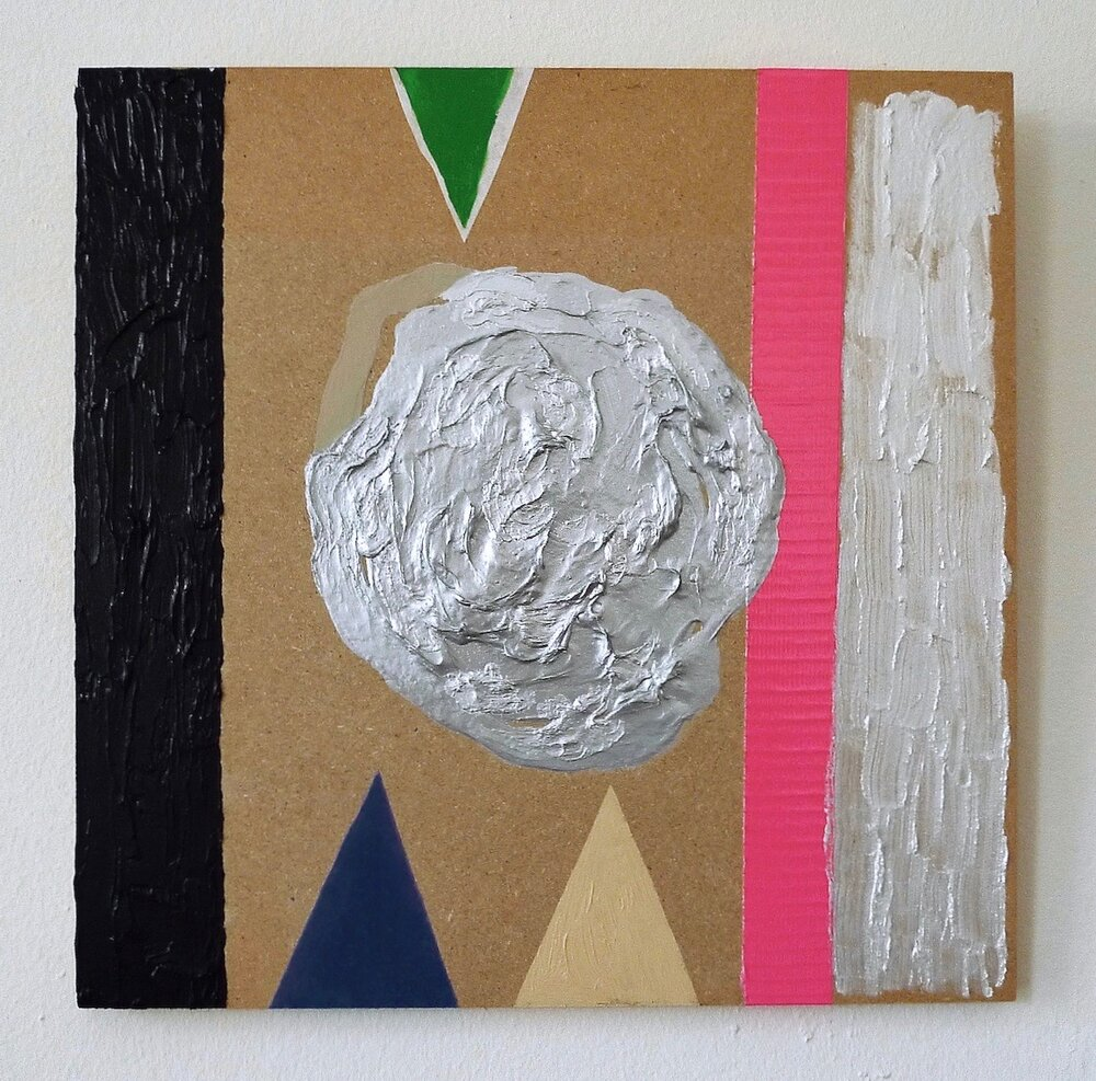 "Tricerapulse  oil, acrylic, tape, wax paper on panel 12"" x 12"""