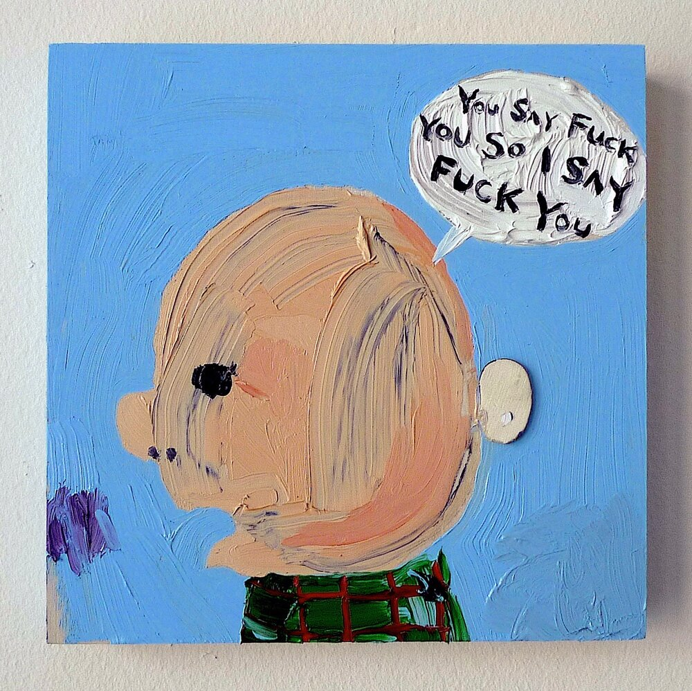 "HUMAN CONDITION  oil on panel, 6"" x 6"""