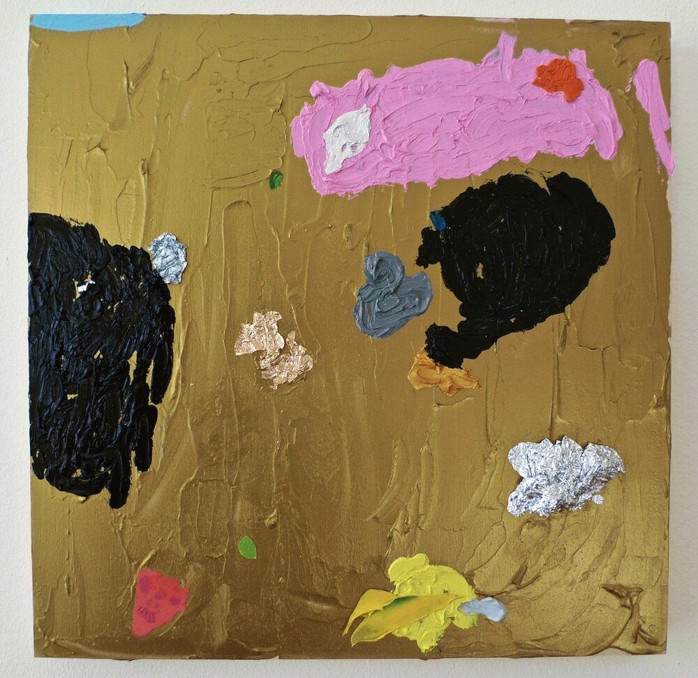 "Elephant Battle  oil, acrylic, paper, wax paper and aluminum foil on panel 12"" x 12"""