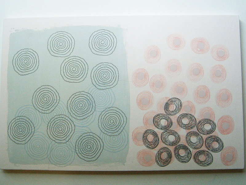 Large un-fired, printed tile, 2004.