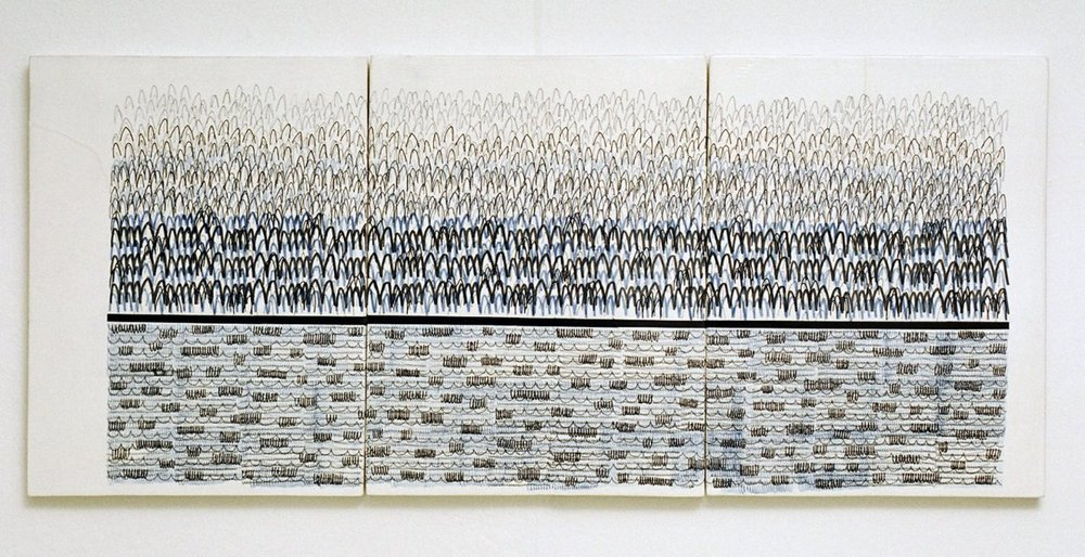 'The Bush', multi-fired 3 tile panel, 2004.