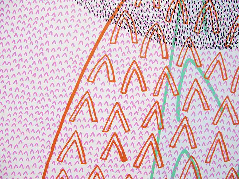 Detail from 'Peak Bagging', screen-print, 2004