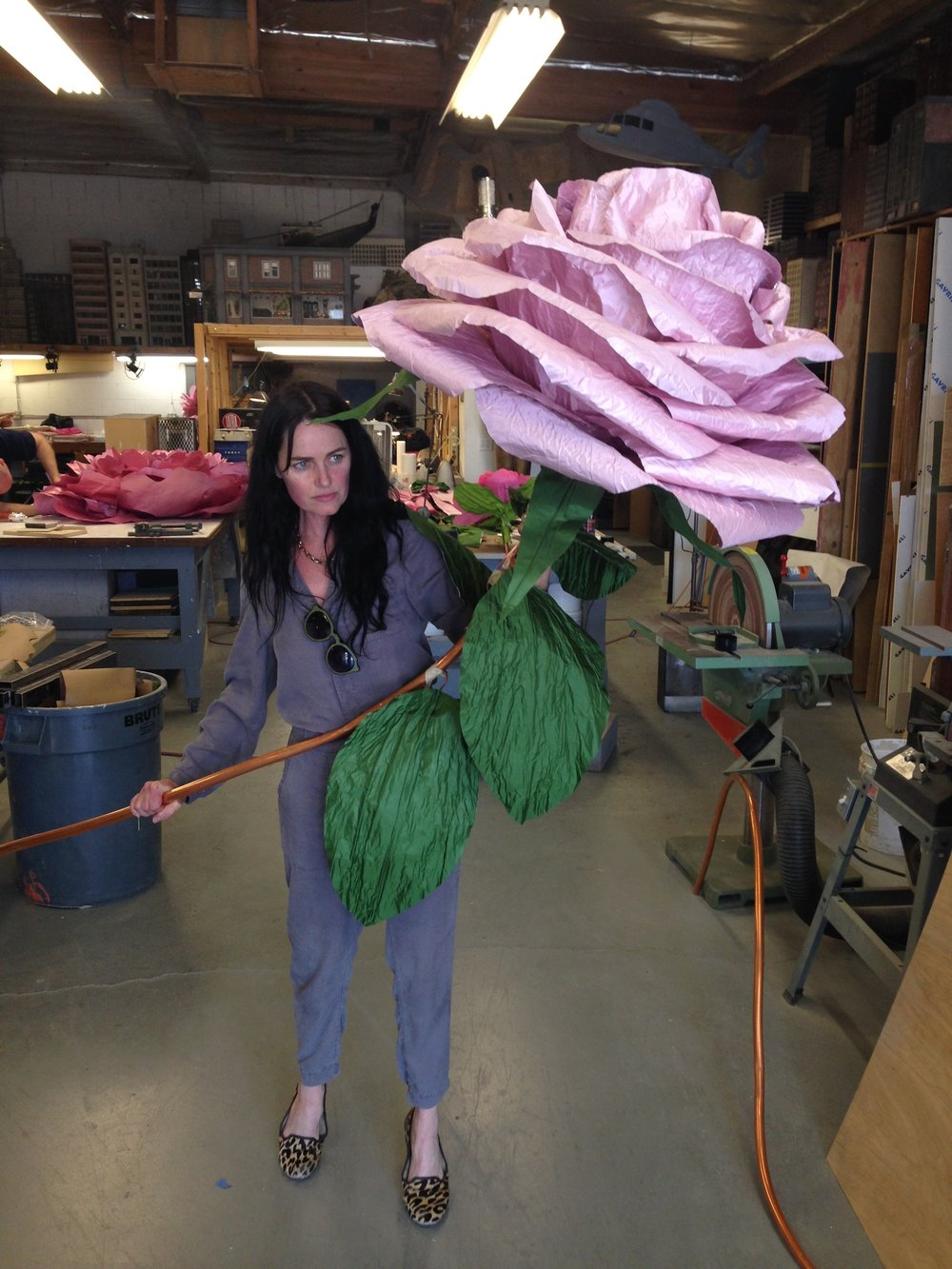 The trickiest part was making the giant silk flowers light enough for Katy Perry to be able to hold and walk around in high heels on set still looking graceful and beautiful. Here I am testing the weight with my fake high heels on.