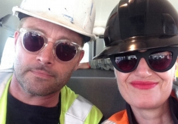 Christian and I looking our glamorous selves in our hard hats and safety jackets.