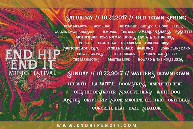 Look at this wildness taking place in Houston this October 21-22 🔥😈🎃👽👻🚨 @end_hip_end_it music festival featuring @thedeadmeadow @acidkingrocks @tblsh @thewellband @la_witch @doomstress_band ELDER @mothershipusa and @pyreshiphtx who are recording with us next month!  #music #endhipendit #independent #musicfestival #rocknroll #psychedelic #psychfest #doom #metal #houston #deadmeadow #acidking #elder