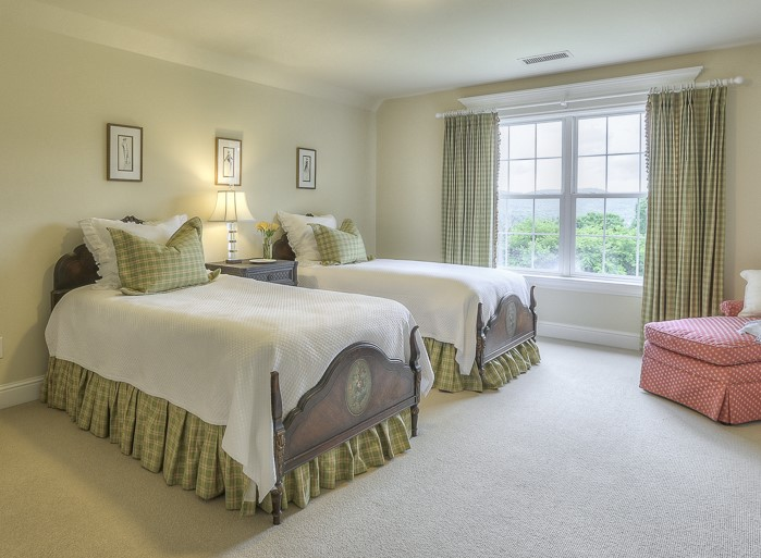 Photo by Household Photography; Bedskirt, Green Pillow Shams, and Draperies fabricated by Complimentary Designs.