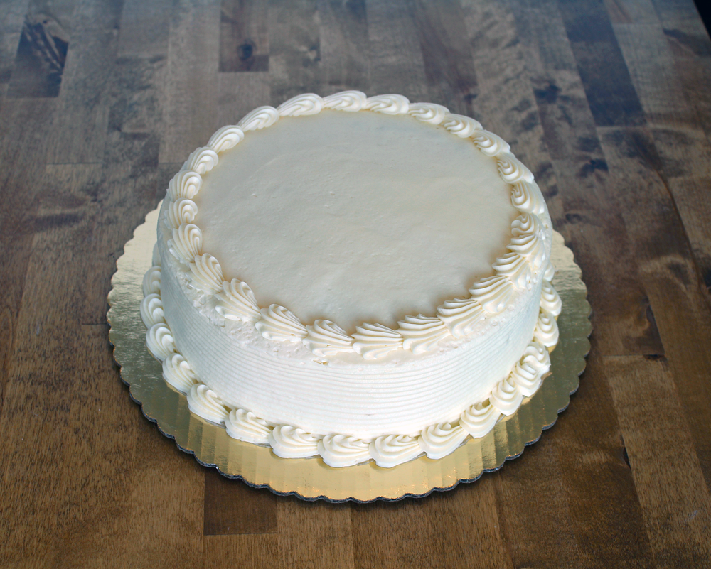 9 in round cake - $22.99    serves 12-14 people